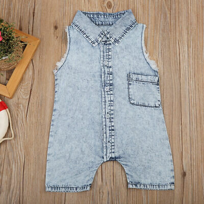 3b0cf640678 INFANT KIDS BABY Boys Summer Clothes Denim Romper Trousers Jumpsuit ...
