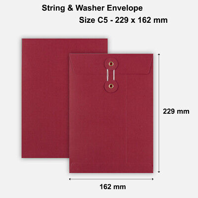 100 x C5 Quality String&Washer W/O Gusset Envelopes Button-Tie Red Cheap