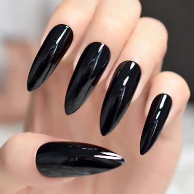24Pcs Good Quality Acrylic False Nail Pure Black Lady Extra Long Nail Tips Z931