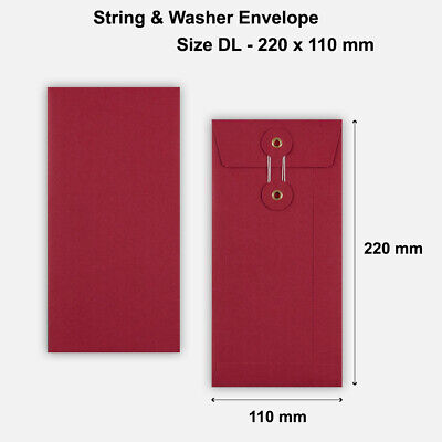 500 x DL Quality String&Washer W/O Gusset Envelopes Button-Tie Red Cheap