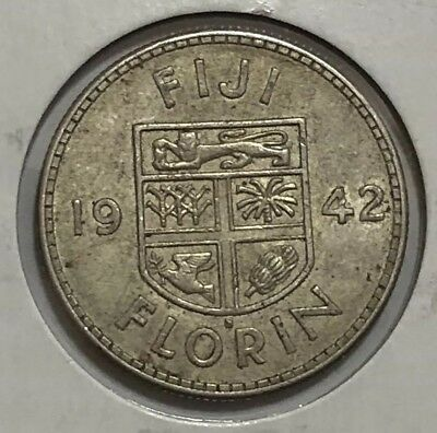 1942 S FIJI SILVER FLORIN KING GEORGE VI with COAT of ARMS
