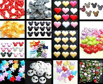 Appliques Hair Craft Bows Mickey Minnie Mouse Strawberry Gingham Sequin Hearts