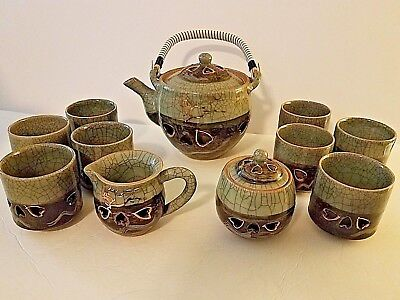Vintage 13-pc. Hand-Crafted Obori Somayaki Hashirigoma Tea Set  (1960's)