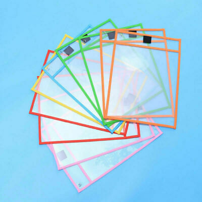 10pcs PVC Reusable Dry Erase Pocket Sleeves Write & Wipe Pocket Paper Saver Tool