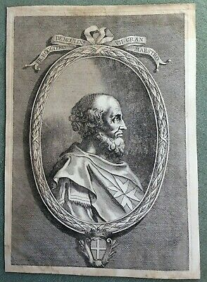 ROGER DE MOULINS THE KNIGHTS HOSPITALLER COPPER ENGRAVED PLATE 18e CENTURY