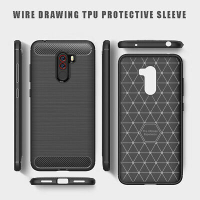 for Xiaomi Pocophone F1 6 6X Shockproof Brushed Carbon Fiber Silicone Case Cover