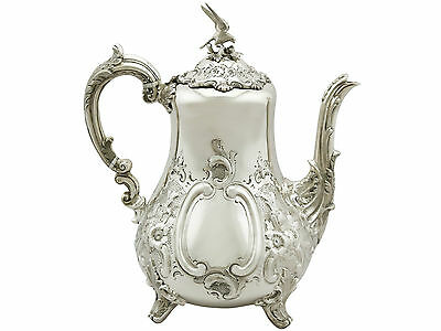 Antique Victorian Sterling Silver Coffee Pot, Louis Style 908g Height 26.1cm