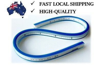 """Flexible Curve Ruler with Inking & Pencil Edge 30vm 12"""" Product in Australia"""