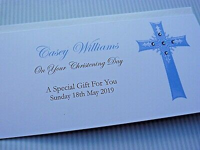 Personalised Christening - Baptism - Holy Communion  Money Wallet Gift Card