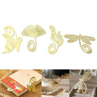 4pcs New Book Magazine Label Mark Reading Gift Bookmark Metal Clip Gold Creative