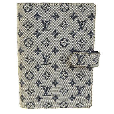 Auth LOUIS VUITTON Agenda PM Day Planner Cover Monogram Mini Blue R20905 08BD639