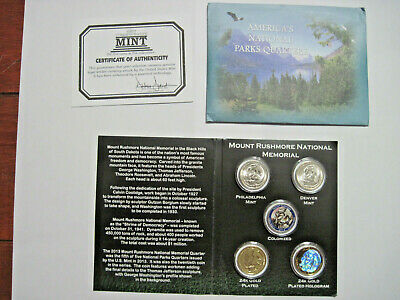 2013 America's National Parks Mount Rushmore P&D+Gold-Plated+Hologram&Colorized