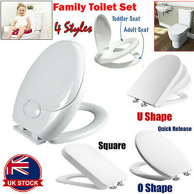 Heavy Duty White Soft Close Toilet Seat | Quick Release BUTTON | FIXING Hinges