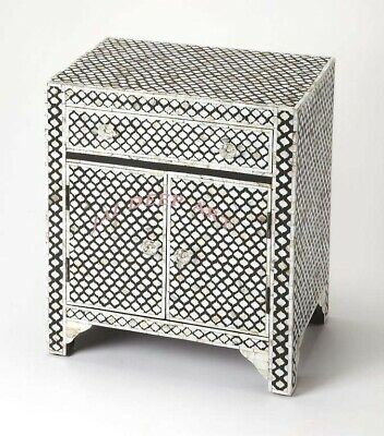 Handmade Antique Mother of Pearl inlay Moroccan Bedside Table Nightstand