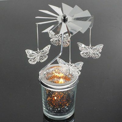 Butterfly Shape Romantic Rotation Candlestick Starry Sky Candle Holders UK
