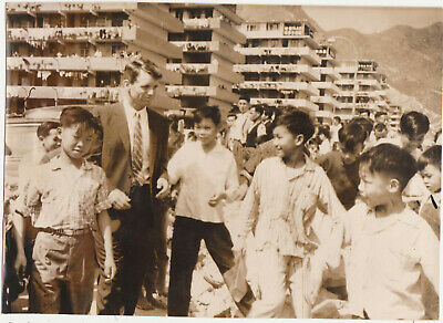1962 HONG KONG Robert Kennedy visit Wong Tai Sin Resettlement Area PHOTO CHINA
