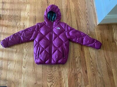 The North Face Girls Reversible Hooded Puffer Jacket Coat Size M (10/12) Purple