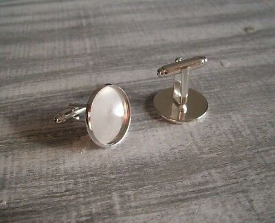 10 x 18mm Silver Plated Round Cufflink Blank Trays Cabochon Settings 5 Pairs UK