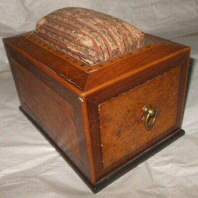 Wonderful Antique Inlaid Birdseye Maple Sewing Box Pin Cushion, Built In Clamp