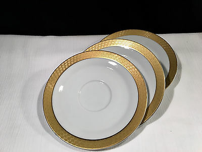 REGENT SAUCER for FOOTED CUP & SAUCER SET by MIKASA Gold Encrusted Geometric