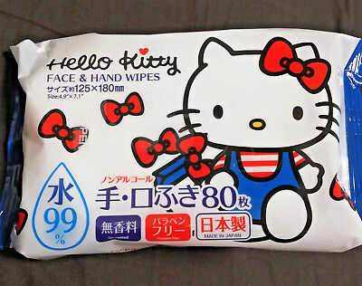 Hello Kitty Face and Hand Wipes 80 sheets Unscented Non-alcohol MADE IN JAPAN