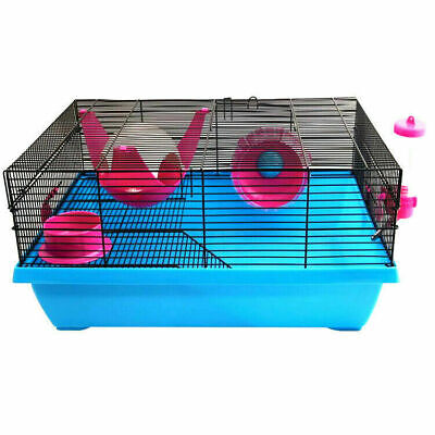 Pet One Hamster Cage Habitat Home PENTHOUSE with Bed Spin Wheel Drinking Bottle