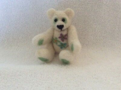 Merino Wool Handmade Needle Felted Teddy Bear, White,4inch, String Jointed