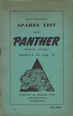 Panther Motor Cycles - models 65 & 75  - illustrated spare parts list