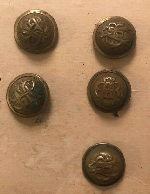 Lot of 5 Matching Vintage Grand Army to Republic Civil War Veteran Buttons Brass