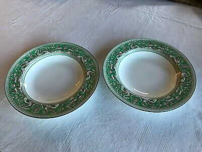 Lot of 2 Gorgeous Rare Wedgwood Florentine Green Rimmed Soup Bowl Bowls