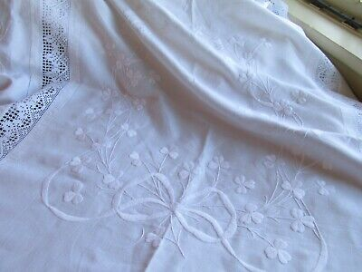 Edwardian Antique Irish Linen Bed Cover-Beautiful Hand Crafted Textile
