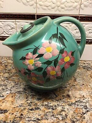 Antique McCoy 1939 Tilted Jug Cookie Jar W/Floral Cold Paint Still In Tact. GVC