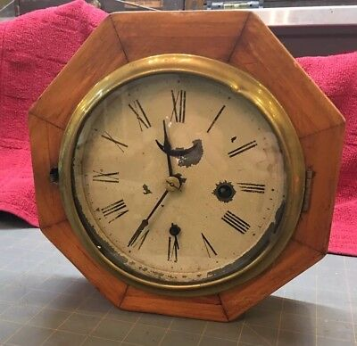 Antique Ansonia 1880 Lever Escapement wall clock with a white face *WORKS*