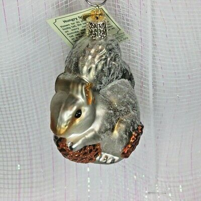 Old World Christmas HUNGRY gray SQUIRREL  Glass Blown Ornament NWT New