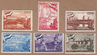 USSR 1947 The 10th Anniver. of Moscow-Volga Canal - 6 stamps full set.