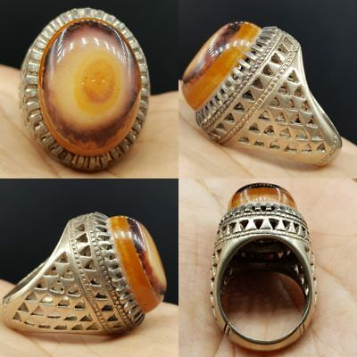 Silver Yemeni Stunning Old Agate stone Solid Silver Old Lovely Ring   # 6L