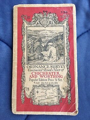Chichester & Worthing: Old 1929 Ordnance Survey Map One Inch Popular Edition 133