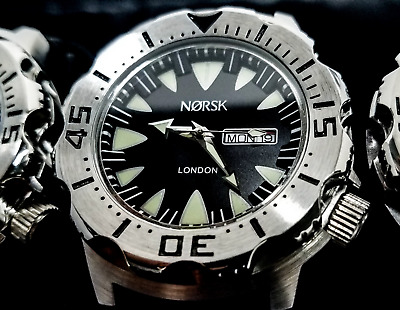 Sea Monster Watch- Norsk - (London medal winners) - Diver - Citizen Movt- Black