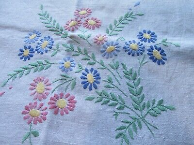 Pretty Vintage Floral Hand Embroidered Linen Tablecloth
