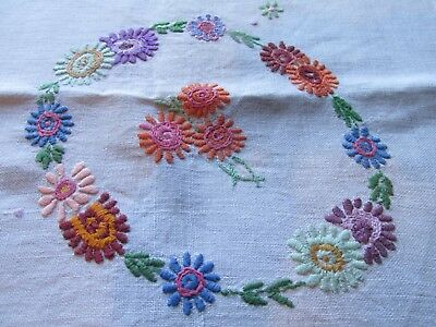 Vintage Hand Embroidered Tablecloth-BEAUTIFUL RAISED FLORAL'S