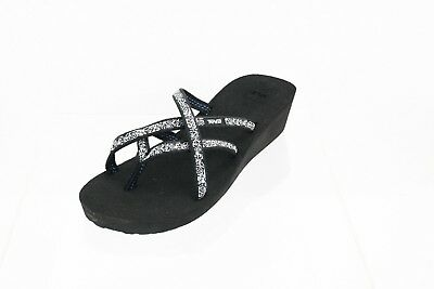 4e108d68b Teva Mush Mandalyn Wedge Ola 2 Flip-Flop Black Women s Shoes Size 11 M