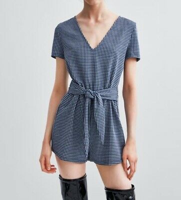 42ae4751458f ZARA GINGHAM BLUE And White Playsuit Size S - £3.00