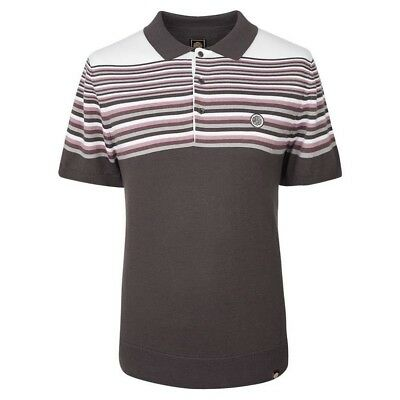 BNWT Pretty Green Nile Knitted Grey Pink Polo Shirt Med RRP £65 S8GMU37769555