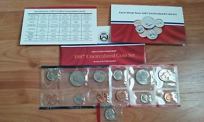 1987 US Mint Uncirculated Coin Set D and P Mint Marks