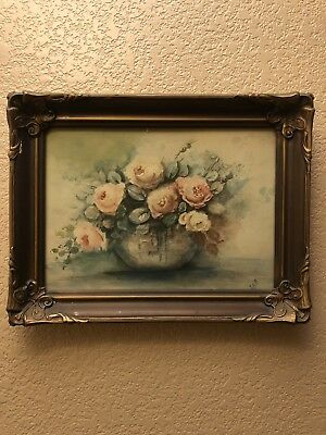 Hand Painted 19th Century Antique Watercolor Floral Painting Bouquet Signed