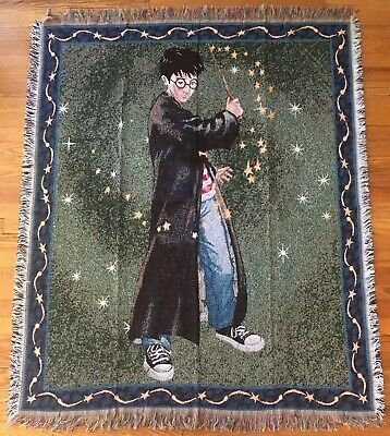 """Harry Potter Throw Blanket Woven Tapestry Boy Wizard Wand Vintage 46""""x54"""""""