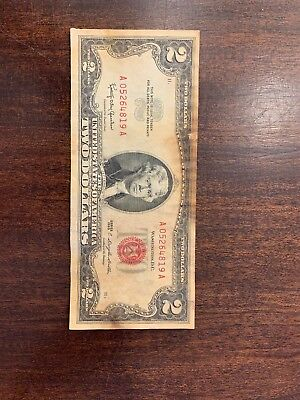 Series of 1963 Two Dollar $2 Bill  *Red Seal* United States Currency Acceptable