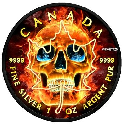 2018 1 Oz Silver $5 BURNING SKULL MAPLE LEAF Ruthenium Coin WITH 24K GOLD GILDED