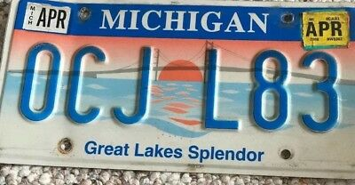 Michigan License Plate Stickerd #2006 Green Plate. Mackinaw Bridge. Great Lakes