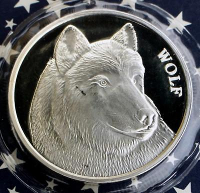 Wolf 1 Troy Ounce .999 Fine Silver Art Round, Still Sealed in Plastic, 1 Troy oz